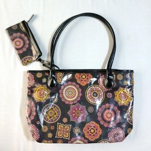 Giani Bernini Floral Black Zip Tote Shoulder Purse